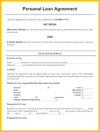 Loan Template Agreement Free Promissory Note Or Personal