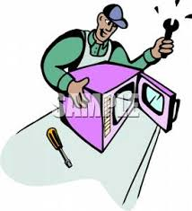 broken microwave clipart. a colorful cartoon of man repairing mircowave - royalty free clipart picture broken microwave m