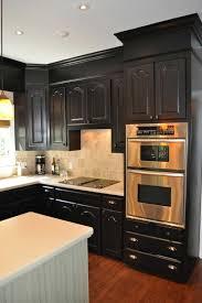 kitchen stunning black kitchen cabinets with espresso maple floor also shallow pantries black distressed