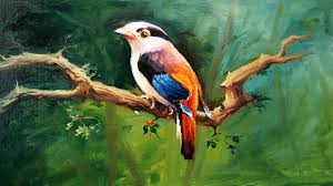 a bird painting with oil colors on canvas by paintlane oil painting