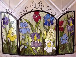 elegant stained glass fireplace screen iris fireplace screen pattern stained glass decorative fire screens uk