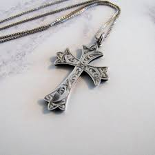 engraved silver cross necklace best of victorian sterling silver gothic cross pendant necklace antique