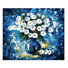fancy daisy diy digital oil painting with frame canvas wall art 19 6