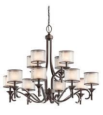 kichler 42383miz lacey 12 light 42 inch mission bronze chandelier ceiling light