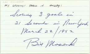 3 By 5 Index Card Bill Mosienko Signed 3 X 5 Index Card