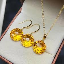 2019 <b>Shilovem 18k Yellow Gold</b> Citrine Pendants Stud Earrings ...