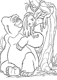 Little Tarzan With Mom Gorilla Coloring