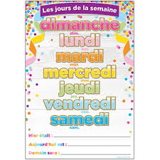 French Days Of The Week Chart French Days Of The Week Dry Erase Surface