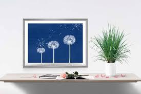 blue dandelion print navy home decor dandelion wall art flower intended for dark blue wall art on navy blue flower wall art with 20 choices of dark blue wall art wall art ideas