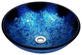 anzzi stellar series deco glass vessel sink in blue blaze