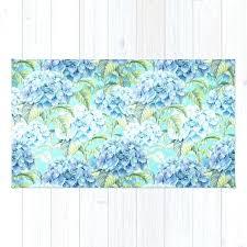 teal flower rug blue fl hydrangea flower flowers vintage watercolor pattern rug teal fl area rug