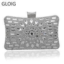 GLOIG diamond <b>silver evening</b> bags top quality gold <b>clutch bag</b> blue ...