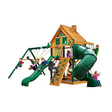 a picture of the gorilla playsets mountaineer wooden swing and play set
