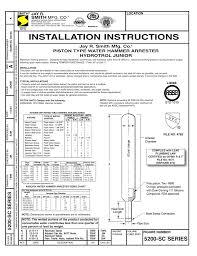 5200 Sc Series Installation Instructions Piston Type Water