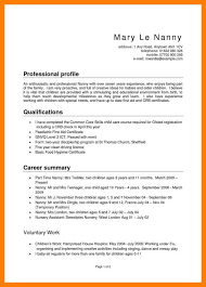 Examples Of Nanny Resumes Examples Of Resumes