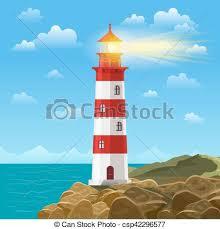 lighthouse on ocean or sea beach cartoon background vector ilration