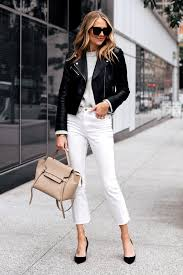 fashion jackson capsule wardrobe wearing club monaco black leather jacket grey sweater everlane white crop jeans