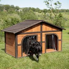 Boomer & George Darker Stain Duplex Dog House with FREE Dog Doors |  Hayneedle