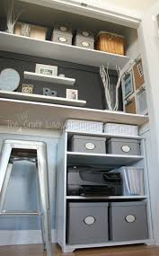 storage for office at home. a home office and craft space inside of spare closet storage for at