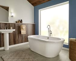 american standard 2764 014m203 011 arctic white with satin nickel drain cadet 66 acrylic soaking bathtub for free standing installations with center drain