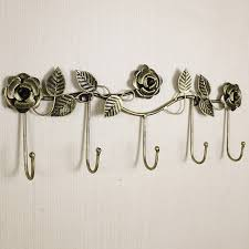 European-style iron rose design decorative wall hoook wall-mounted coat  hanger rack key