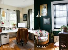 decorate office jessica. Home Office : Before After Hunter Green Jessica Brigham Space Decor Ideas Emerald Teal Renovation Blog Room Desk Study Living Spaces Cute And Decorate