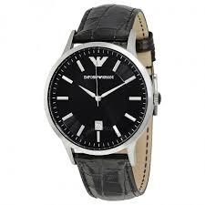 emporio armani black dial black leather men s watch ar2411 emporio armani black dial black leather men s watch ar2411