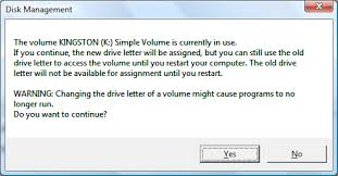 change drive letter in use error