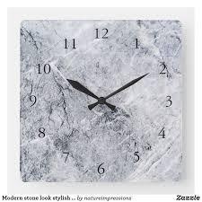 Modern <b>stone</b> look stylish gray rock <b>pattern square wall</b> clock ...