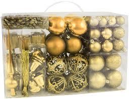 Brubaker 101 Teiliges Set Weihnachtskugeln Mit Baumspitze Christbaumschmuck Gold