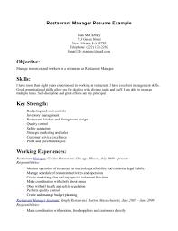 Cover Letter Restaurant Worker Resume Restaurant Job Resume Skills