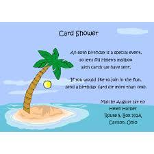 Birthday Card Shower Invitation Wording Palm Tree Card Shower Invitations For Special Occasions