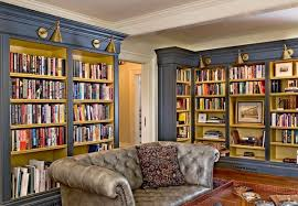 home library furniture. Bermuda-blue-home-library-housing-a-Chesterfield-Sofa-600x416.jpg Home Library Furniture