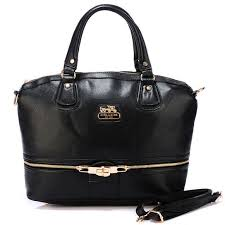 ... coach zip in logo large black satchels