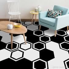 Großhandel 10 Teile Satz Schwarz Weiß Hexagon Pvc Boden Aufkleber