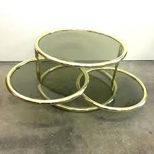 brass and glass coffee table small round by vintage side