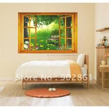 funlife large 3d garden nightfall view window wall stickers art decals kids room