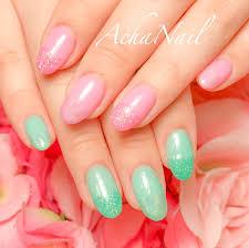 池袋ネイルサロンachanail Auf Twitter 春色のシアーピンクとグリーン