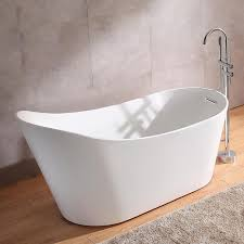 67 acrylic freestanding soaking bathtub in white with chrome reversible drain overflow for bathroom