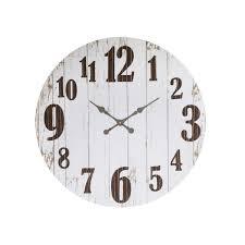 3r studios distressed white wood slat wall clock