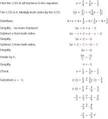 the top line says find the lcd of all fractions in the equation