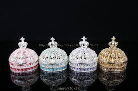 Decorative Ring Boxes Vintage Princess Crown Shape Jewelry Box Decorative Trinket Box 11