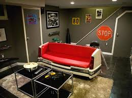 Interior : Dazzling Basement Man Cave Decorations Grey Painted Wall Black  Ceramic Floor Red Car Part