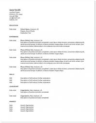Resume Templates Word Format