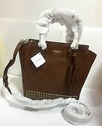 Image is loading NWT-COACH-50470-Legacy-Studded-Leather-Mini-Tanner-
