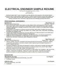 Sample Of Resume For Electrical Engineer Free Engineering Resume