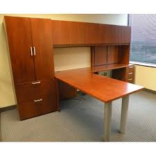 ofs l desk cherry wood veneer