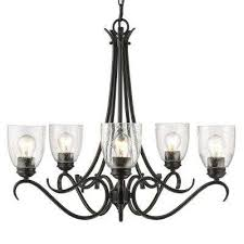 parrish 5 light black chandelier with seeded glass shade