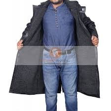blade runner ryan gosling men s black leather faux fur coat leather coat