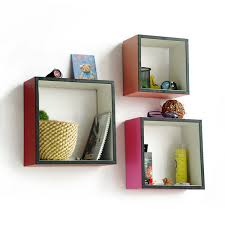 trista sweet sixteen square leather wall shelf bookshelf floating shelf set of 3